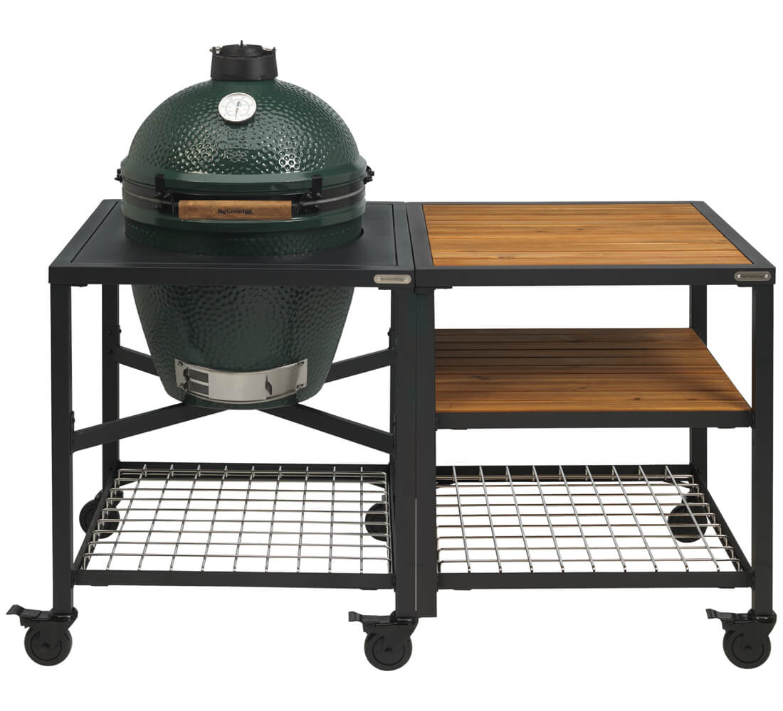 Big Green Egg Large + Egg Frame Large + Expansion Frame Wood Wood Grid