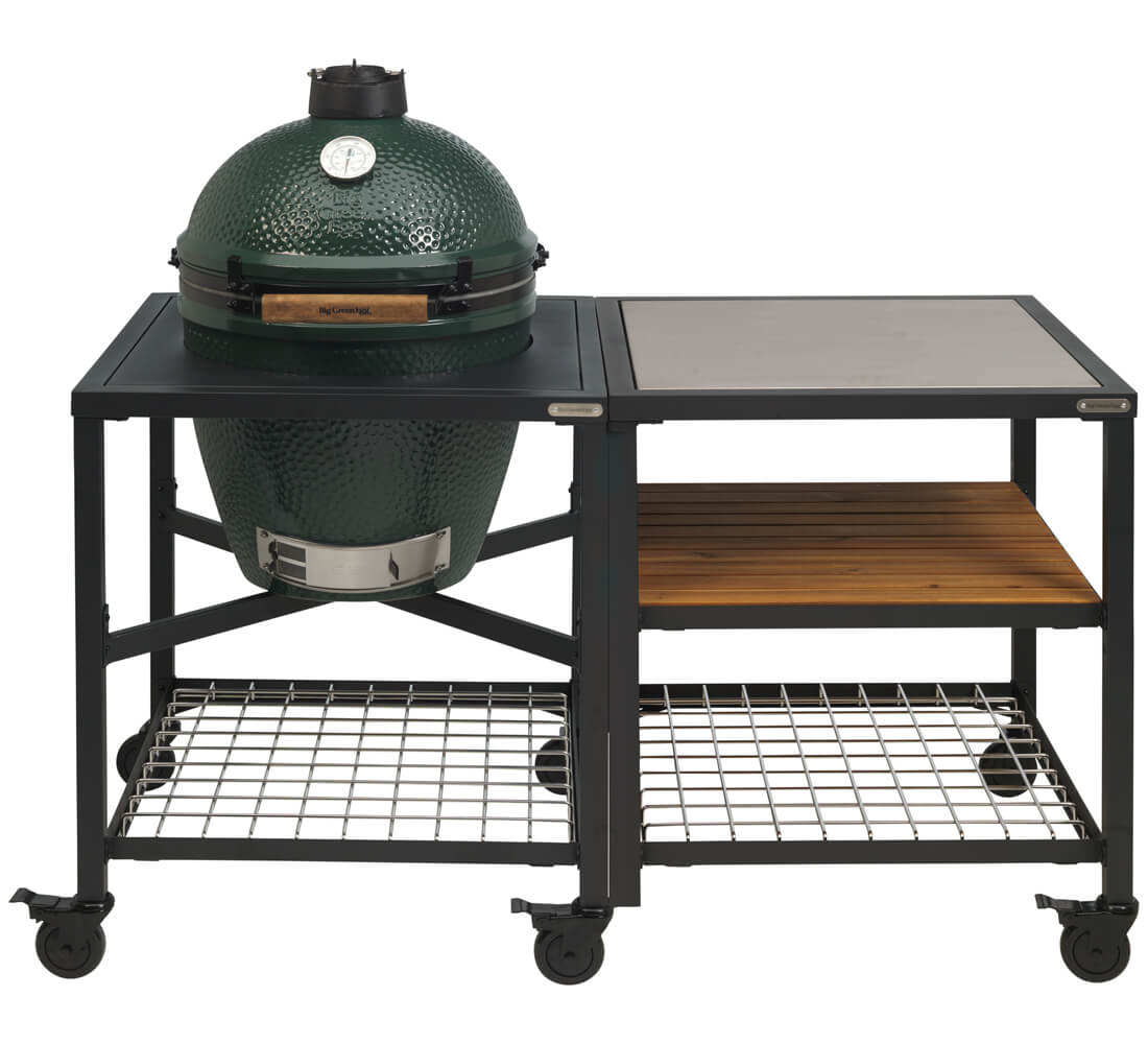 Big Green Egg Medium + Egg Frame Medium + Expansion Frame SS Wood Grid